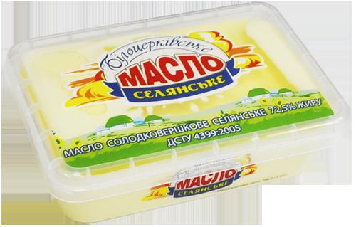 Масло солодковершкове «Селянське» 72,5% жиру ДСТУ 4399:2005