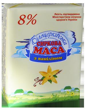 Сиркова маса 8% жиру з ваніліном згідно з ТУ У 25027034-015-99
