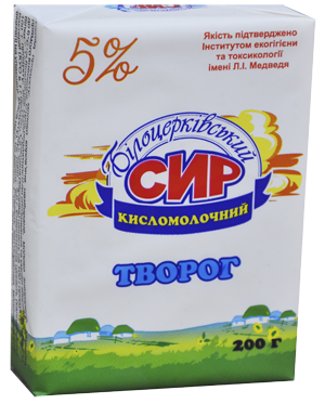 Сыр кисломолочный 5% жира согласно с ГСТУ 4554:2006
