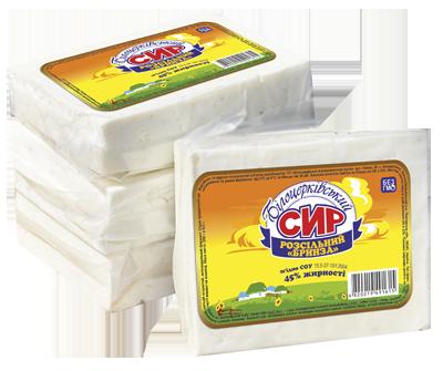 Сыр рассольный «Брынза» 45% жирности согласно СОУ 15.5-37-191:2004