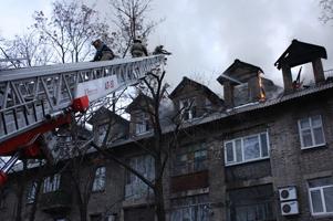 В центре Донецка сгорел дом